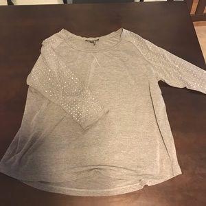 Grey 1/4 Sleeve Lightweight Sweater
